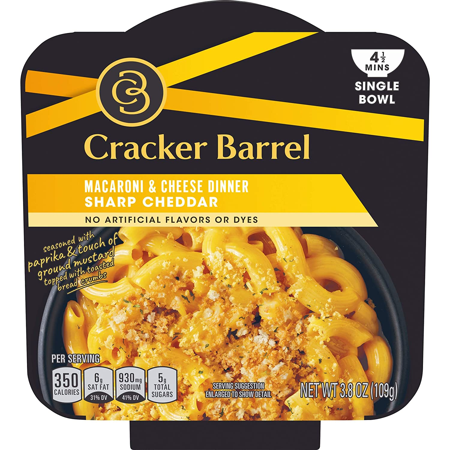 Cracker Barrel Sharp Cheddar Macaroni & Cheese Single Bowl (3.8oz Boxes, Pack of 6)