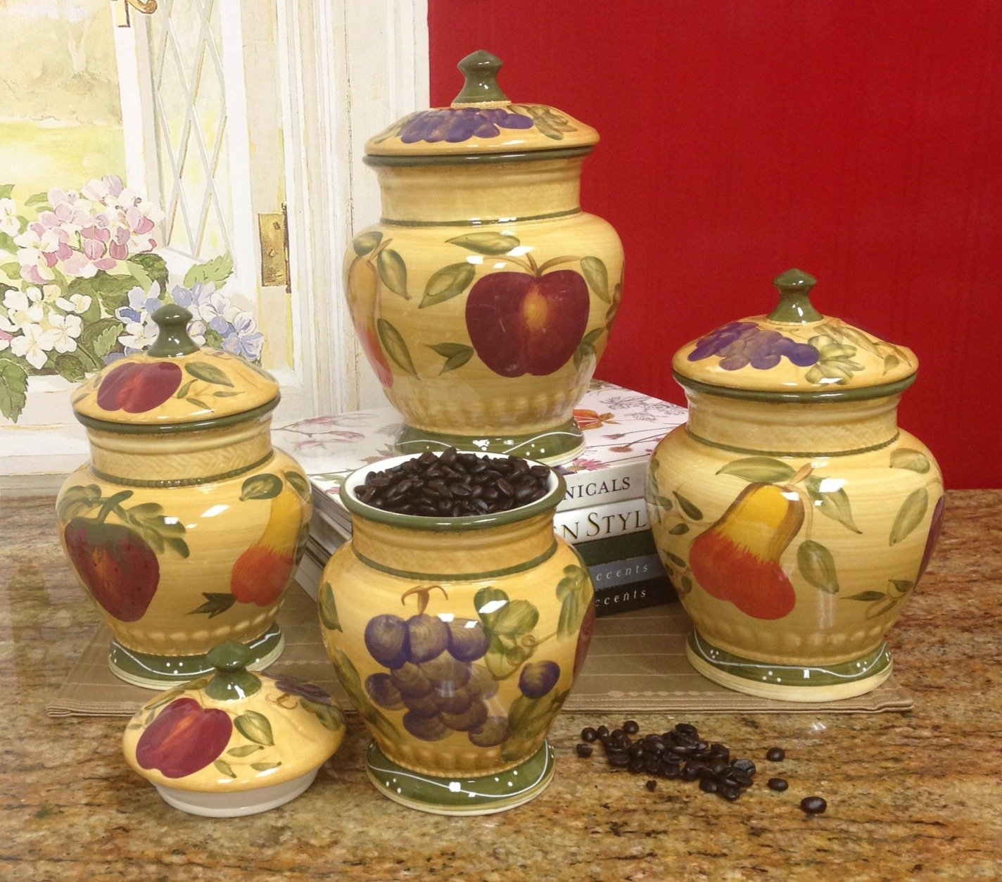 Amazon.com - European Style Tuscan Fruit Grape Kitchen 4 Pc ...
