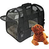 Juxcity Portable Mesh Soft Sided Pet Carrier Airline Approved Travel Bag for Small Medium Dogs Cats with Tow Sherpa Pads(Black)