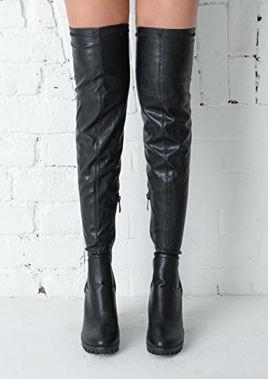 96c1be829 Womens Over the Knee Thigh High Cleated Sole Faux Suede / Leather Boots  Chunky Platform Boots