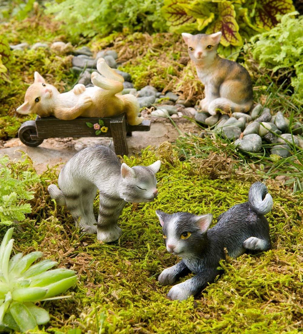 Figura decorativa, diseño de gatos en miniatura, juego de 4 ...
