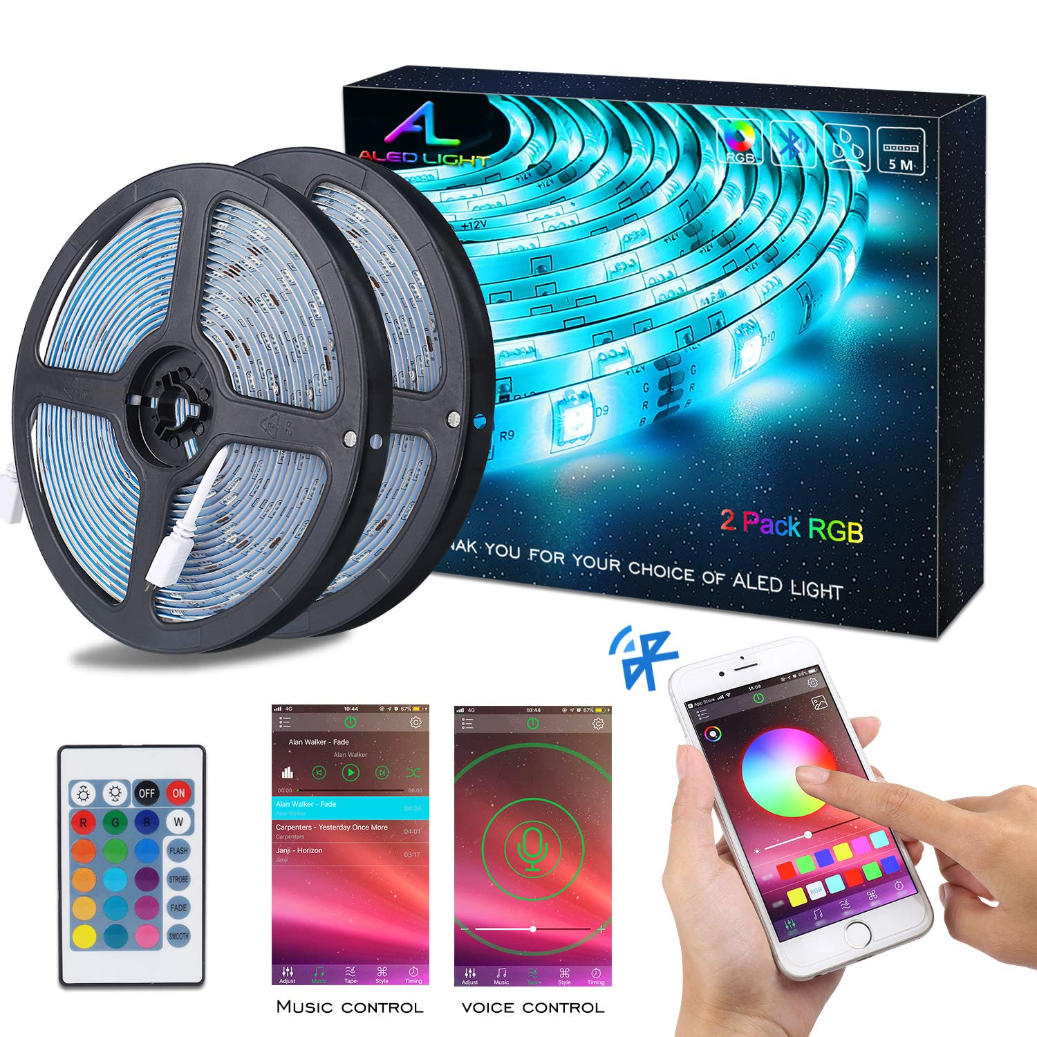 Bluetooth LED Strip Lights, ALED LIGHT 5050 10M (2 x 5M) 300 LED Stripes Lights Smart-Phone Controlled Waterproof RGB LED Band Light for Home&Outdoor Decoration