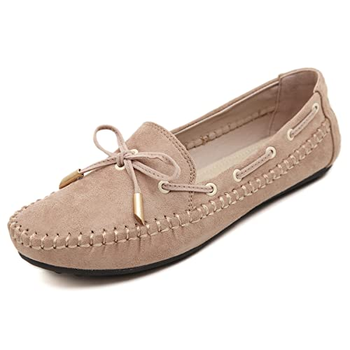 Stunner Womens Bowknot Moccasins Loafers Casual Driving Slip on Flat Shoes Apricot 35-US 5