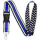 American Flag Office Lanyard - Badge and ID Holder (Thin Blue Line)