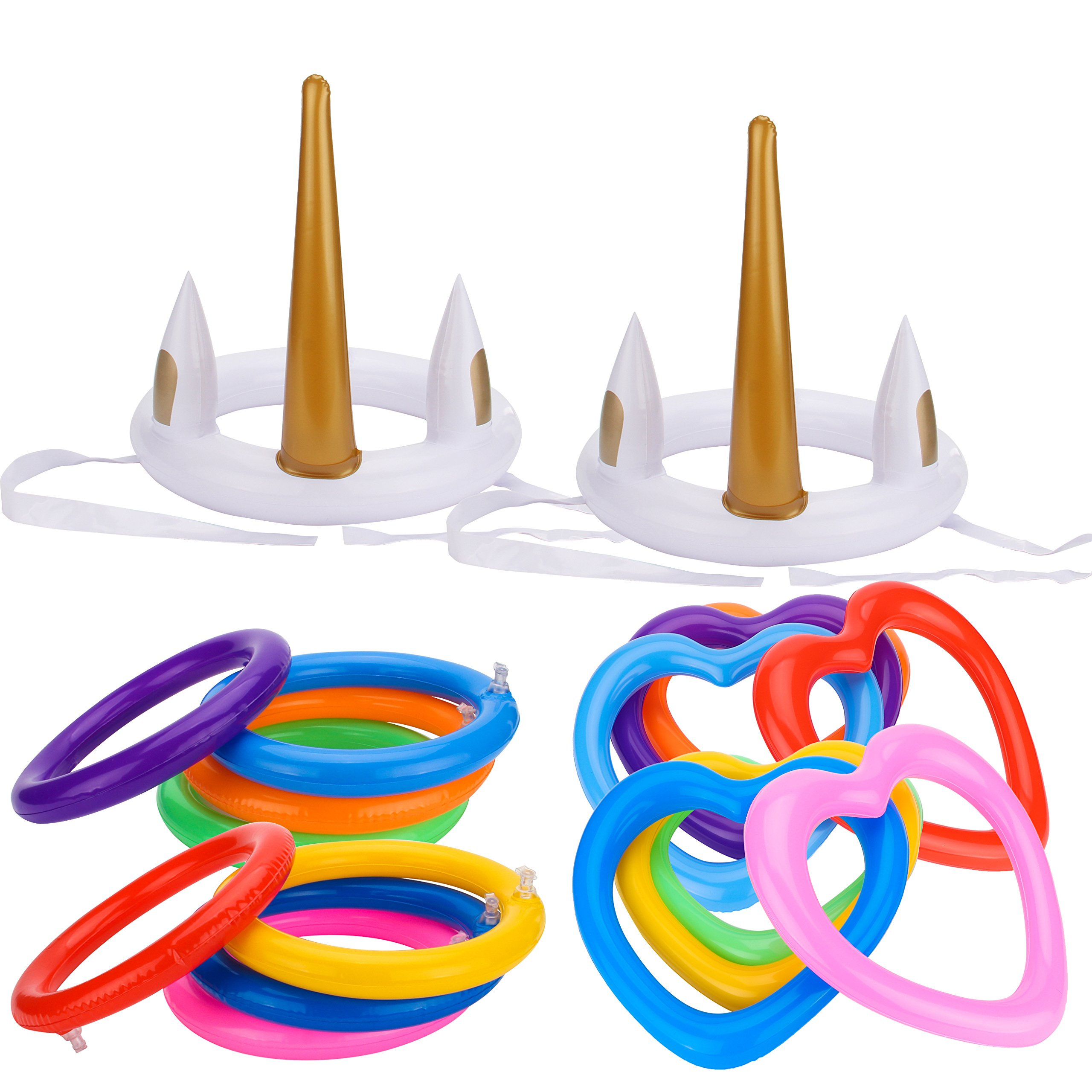 Grobro7 18Pcs Inflatable Unicorn Ring Toss Game Round Heart Ring Pool Garden Backyard Outdoor Bridal Shower Booth Party Favor Supplies
