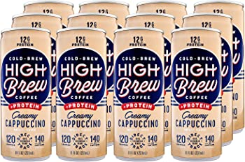 12-Pack High Brew Cold Brew Coffee 8oz Creamy Cappuccino Plus Protein