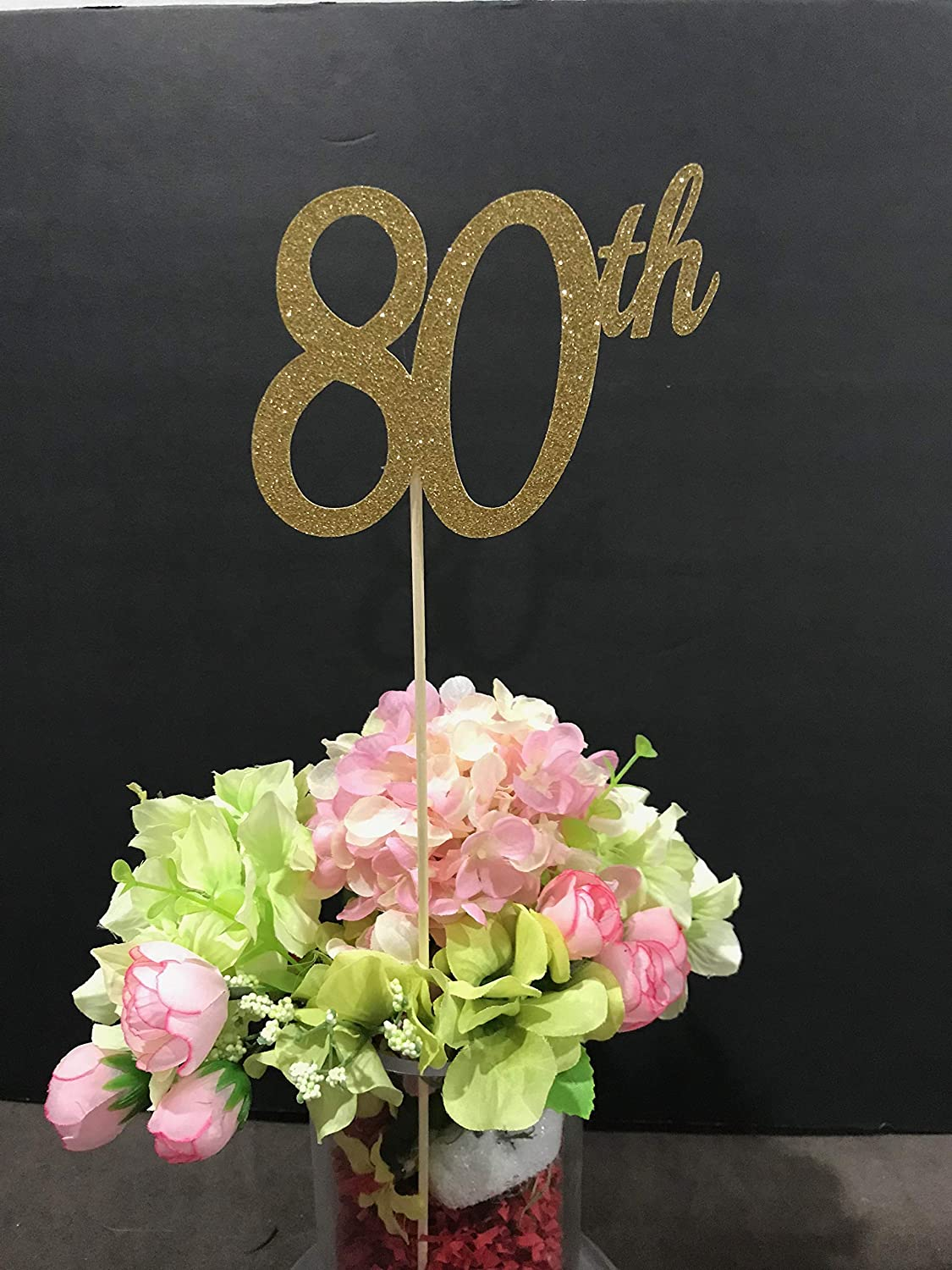 80th Birthday Decorations Centerpiece Sticks Glitter 80 Table Age Anniversary Stick