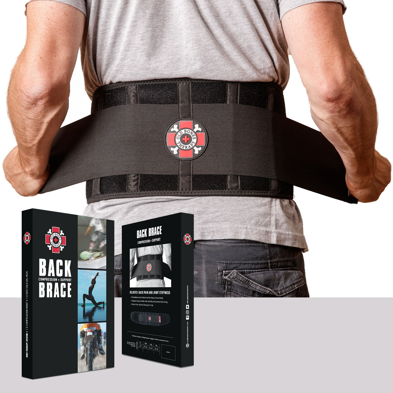 Old Bones Therapy Back Brace - Immediate Pain Relief for Lower Back Pain, Sciatica, Scoliosis or Herniated Disc - Adjustable Back Support Belt with Lumbar Support for Men & Women - Size L/XL