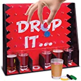 Wembley Drop It Gravity Game, Party Drinking Game for Adults Only, 6 Shot Glasses with Matching Drop Disks and Peg Game Board, Fun Gift, Great for Parties and Game Night, Add to Man Cave and Home Bar