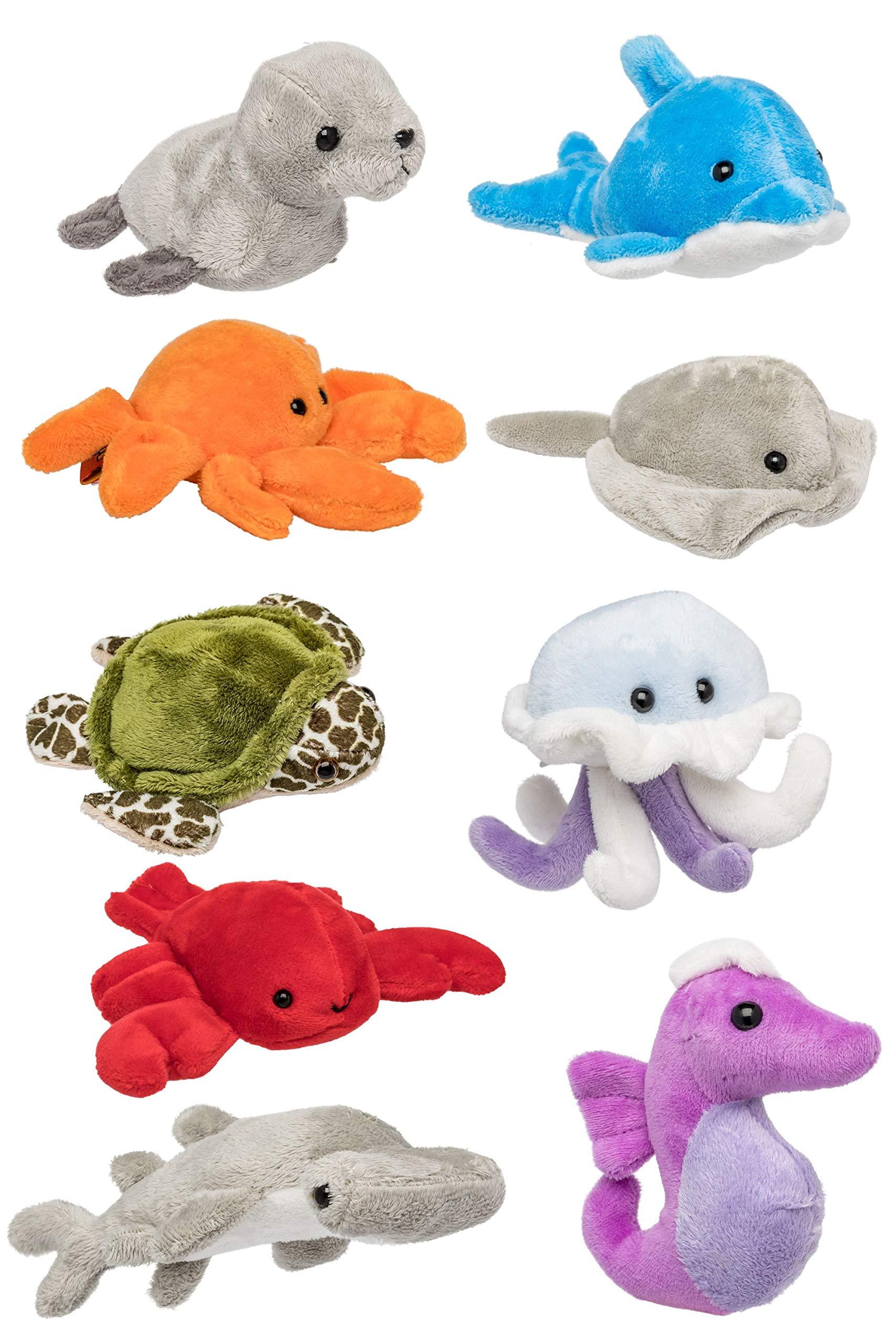 Wildlife Tree (9 Pack) Ocean Mini 4 Inch Stuffed Animals, Ocean Animal Toys by Wildlife Tree