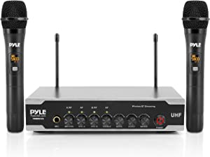 Portable Uhf Wireless Microphone System - Battery Operated Dual Bluetooth Cordless Microphone Set, Includes 2 Handheld Transmitter mic, Receiver Base, Aux, RCA, For PA Karaoke DJ Party - Pyle PDWM2125