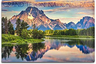 product image for Lantern Press Grand Teton National Park, Wyoming - Sunrise and Snake River 53668 (6x9 Aluminum Wall Sign, Wall Decor Ready to Hang)