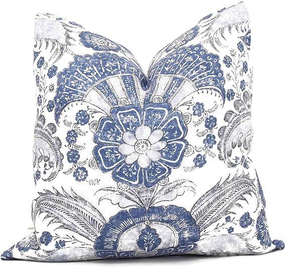 None Brand Schumacher Delft Blue Calicut Decorative Pillow Cover Blue And Green Throw Toss Pillow Cover Amazon Ca Home Kitchen