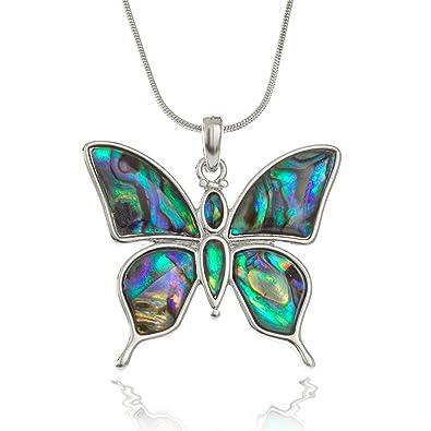 Seashore Bijoux Femme Papillon Collier incrusté de durablement Collectée  Ormeau sur chaîne 45,7 cm 2d81d72c94f6