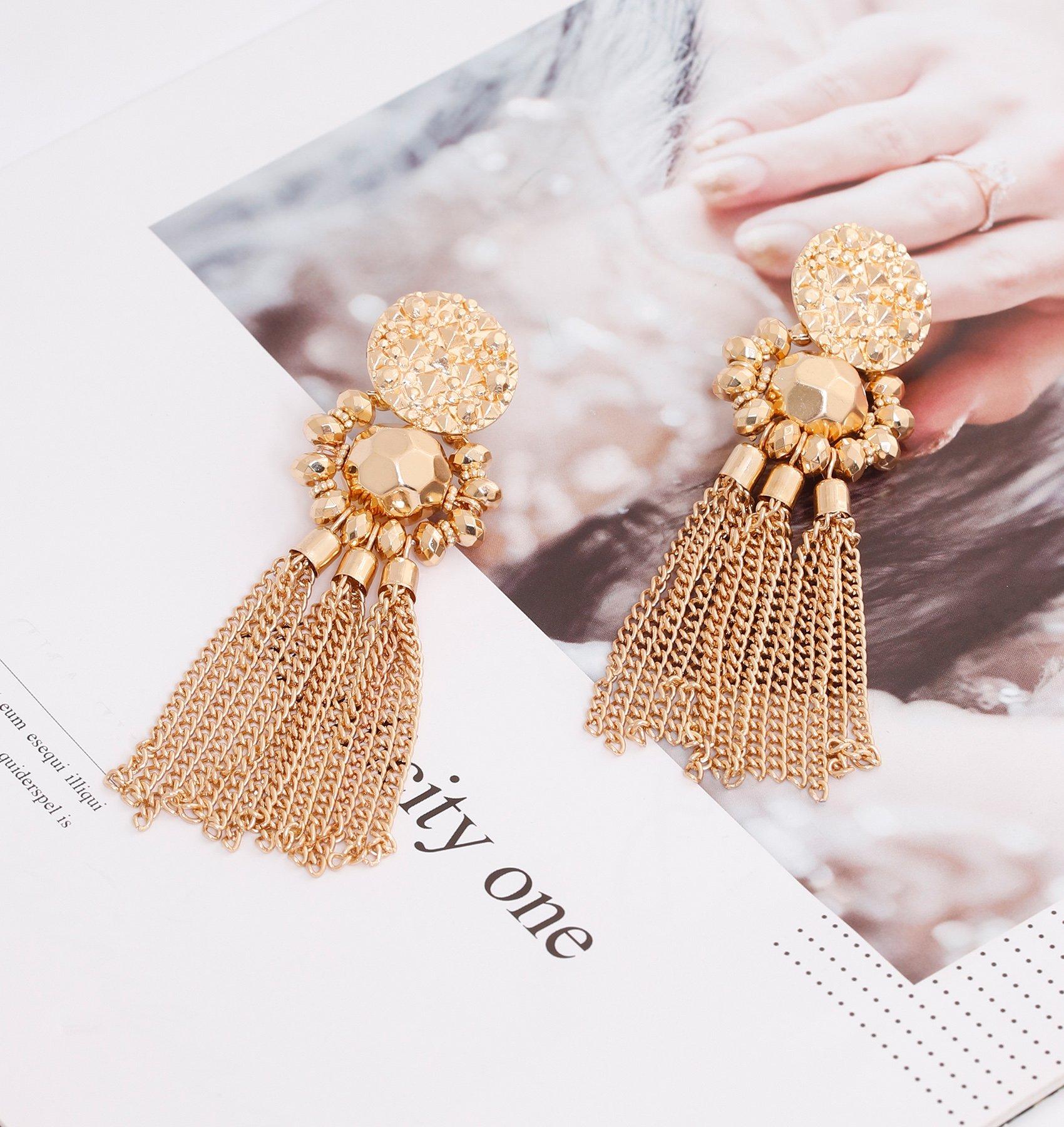 Bohemian Statement Tassel Chandelier Drop Dangle Earrings with Cassandra Button Stud (gold) by LPON (Image #3)