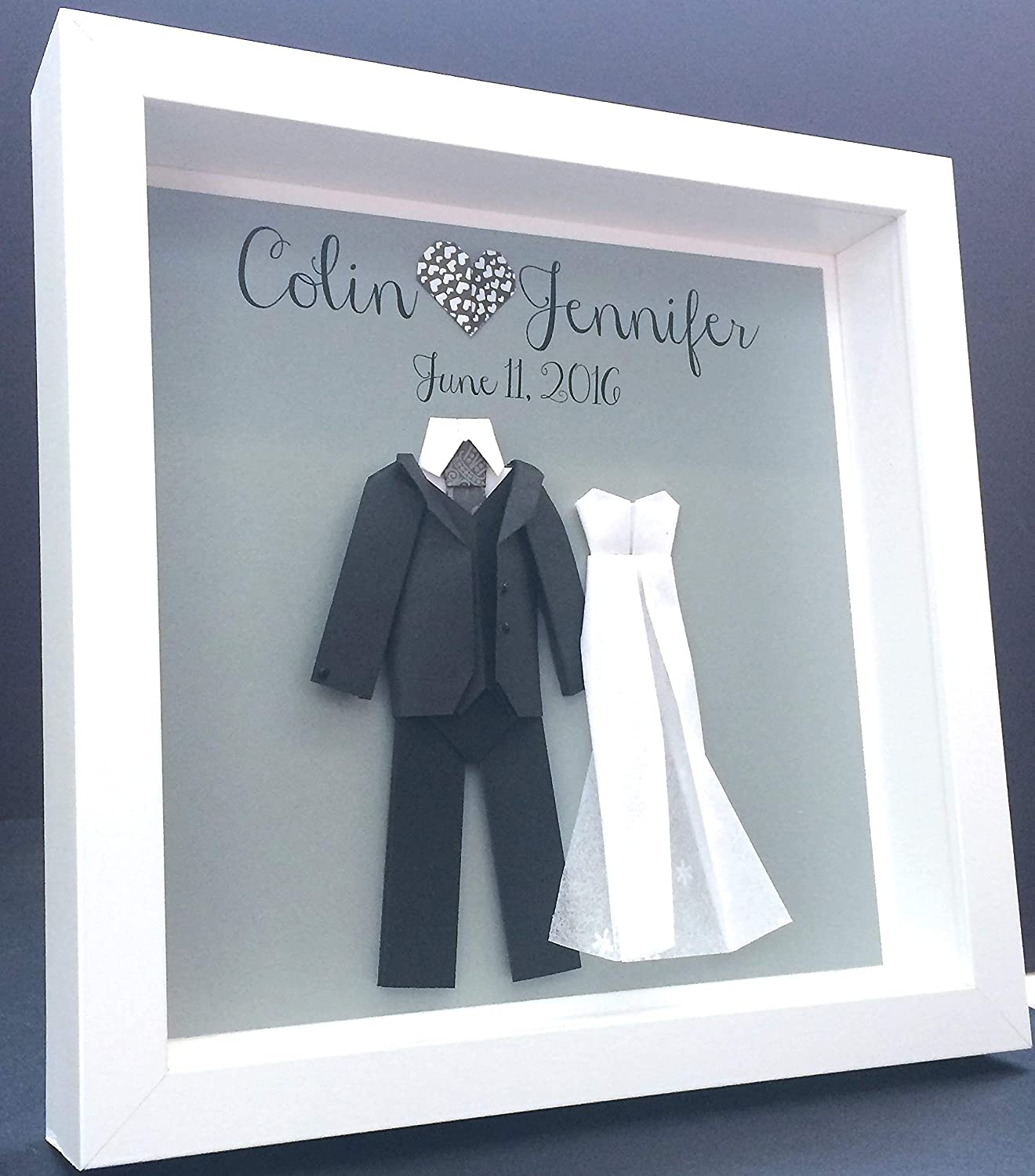 Personalized Wedding Frame, Engagement, First Anniversary, Bridal Shower Paper Origami Bride & Groom Custom Wall Art Gift
