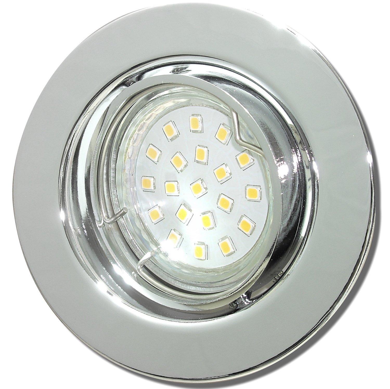 9 Stück SMD LED Einbaustrahler Elena 12 Volt 3 Watt Schwenkbar Chrom Neutralweiß