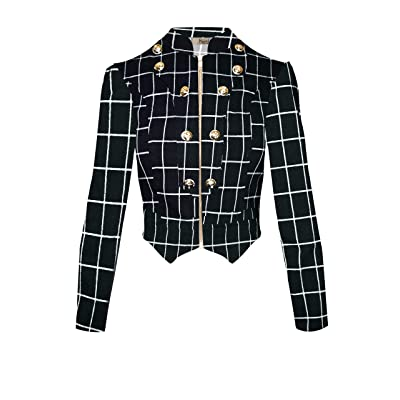 Hybrid & Company Women's Military Crop Stretch Gold Zip Up Blazer Jacket at Women's Clothing store
