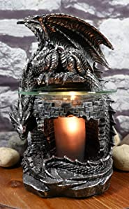 Ebros Rhaegal Castle Tower Sentry Behemoth Dragon Electric Oil Burner Tart Warmer Aroma Scent Statue Night Light Home Fragrance Aroma Accessory Fantasy Dungeons and Dragons Figurine