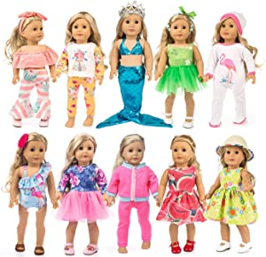 HAPPY ELFIN 23 pcs Girl Doll Clothes Gift for American 18 inch Doll Clothes and Accessories, Including 10 Complete Sets of Clothing with Hair Bands, Hair Clips, Crown Cap and Underwear
