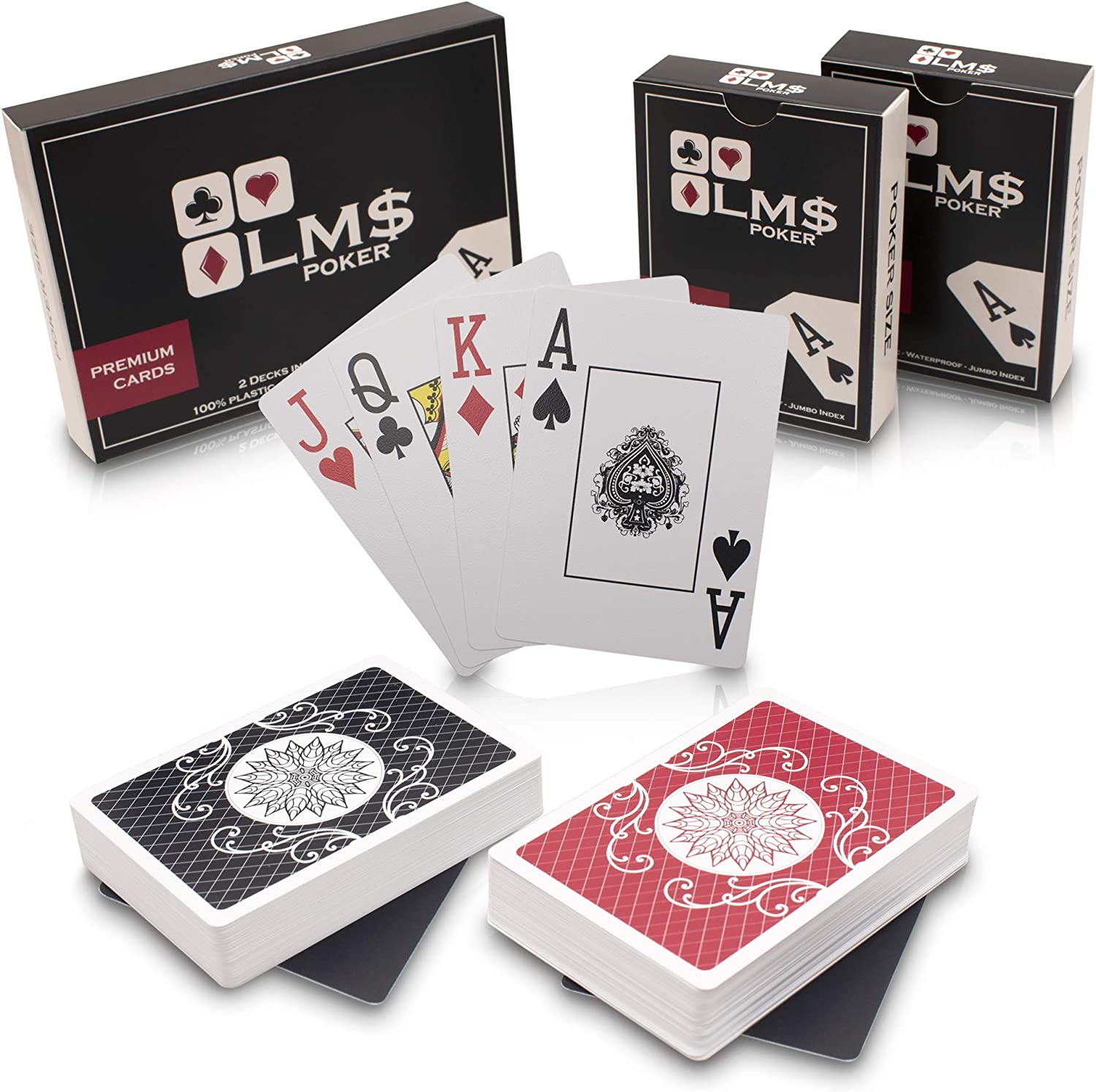 54 Cards including Jokers Pack of Plastic Coated Jumbo Playing Cards