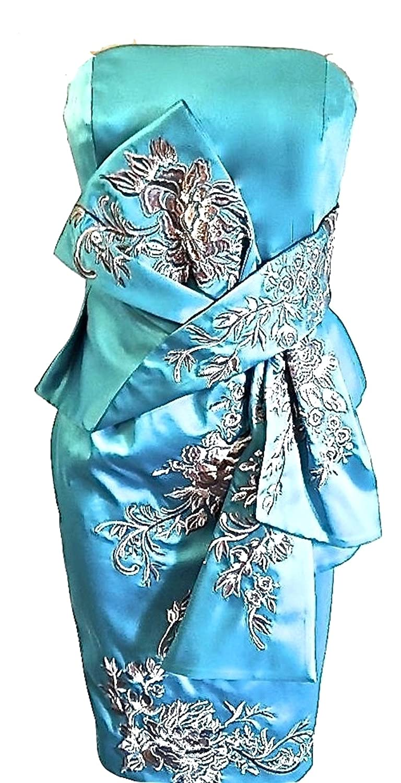 DQ256 Karen Millen Turquoise Blue Embroidered Oriental Pencil Satin ...