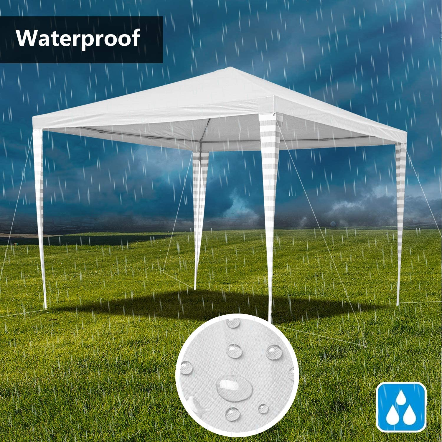 VINGO Waterproof Party Tent UV Protection Garden Tent with 4 Side Panels Garden Gazebo for Party Festival Exhibition Stands