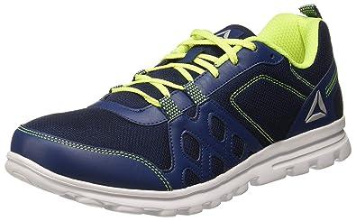 Reebok Men s Run Fusion Xtreme Washed Blue NEON Yellow Running Shoes-46  (CN6026 c4bedb381