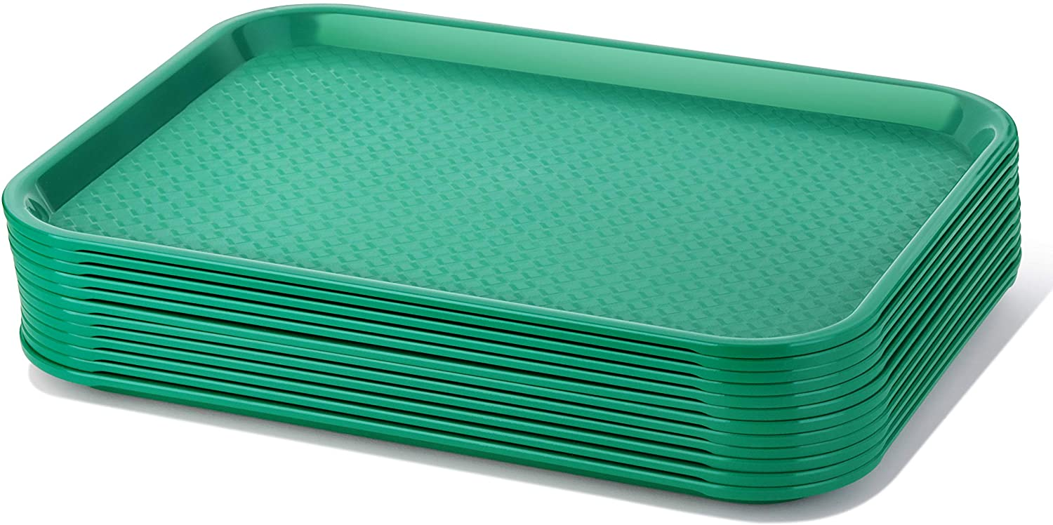 New Star Foodservice 24425 Green Plastic Fast Food Tray, 10 by 14-Inch, Set of 12