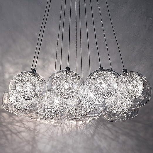 Mia Light Draht Kugel Hange Leuchte O500mm Modern Silber Glas Alu