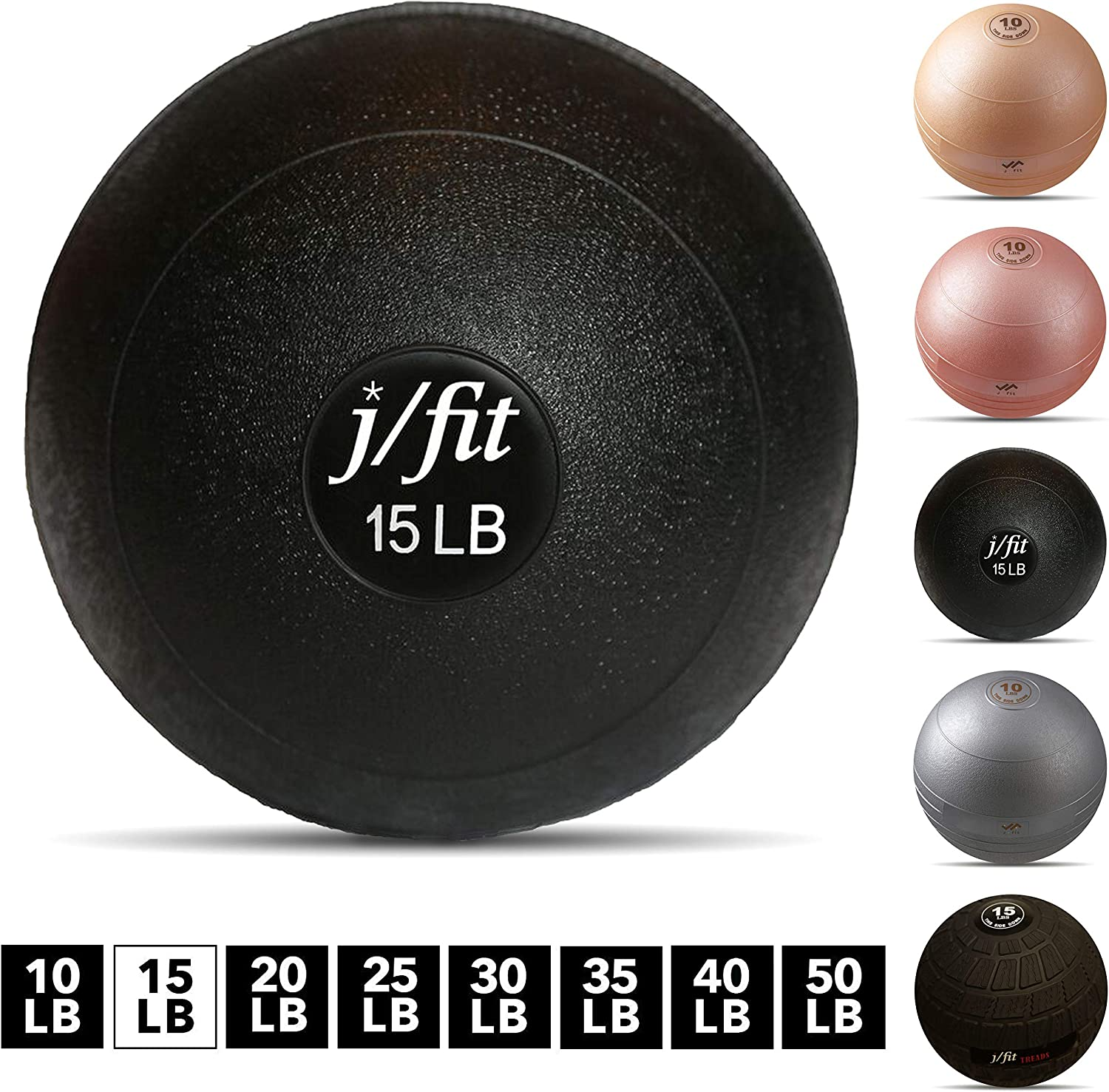 j/fit Dead Weight Slam Ball for Strength & Conditioning WODs, Plyometric and Core Training, and Cardio Workouts - 15 lb : Exercise Balls : Sports & Outdoors
