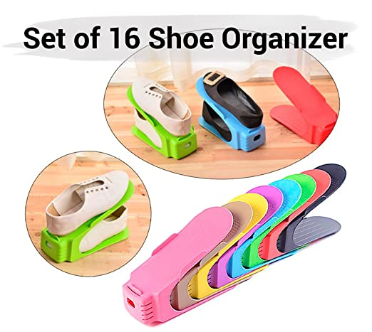 Tied Ribbons Shoes Sandals Space Saver Storage Cum Organizer for Home Shelf Shoe-Rack