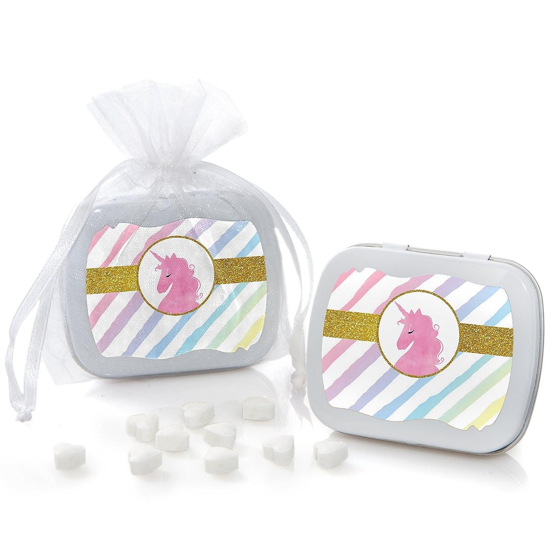 Amazon.com: Rainbow Unicorn - Mint Tin Magical Unicorn Baby Shower ...