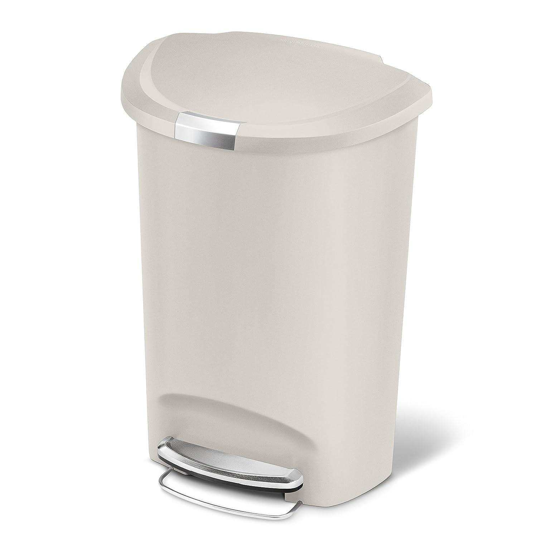 simplehuman semi round step trash can stone plastic