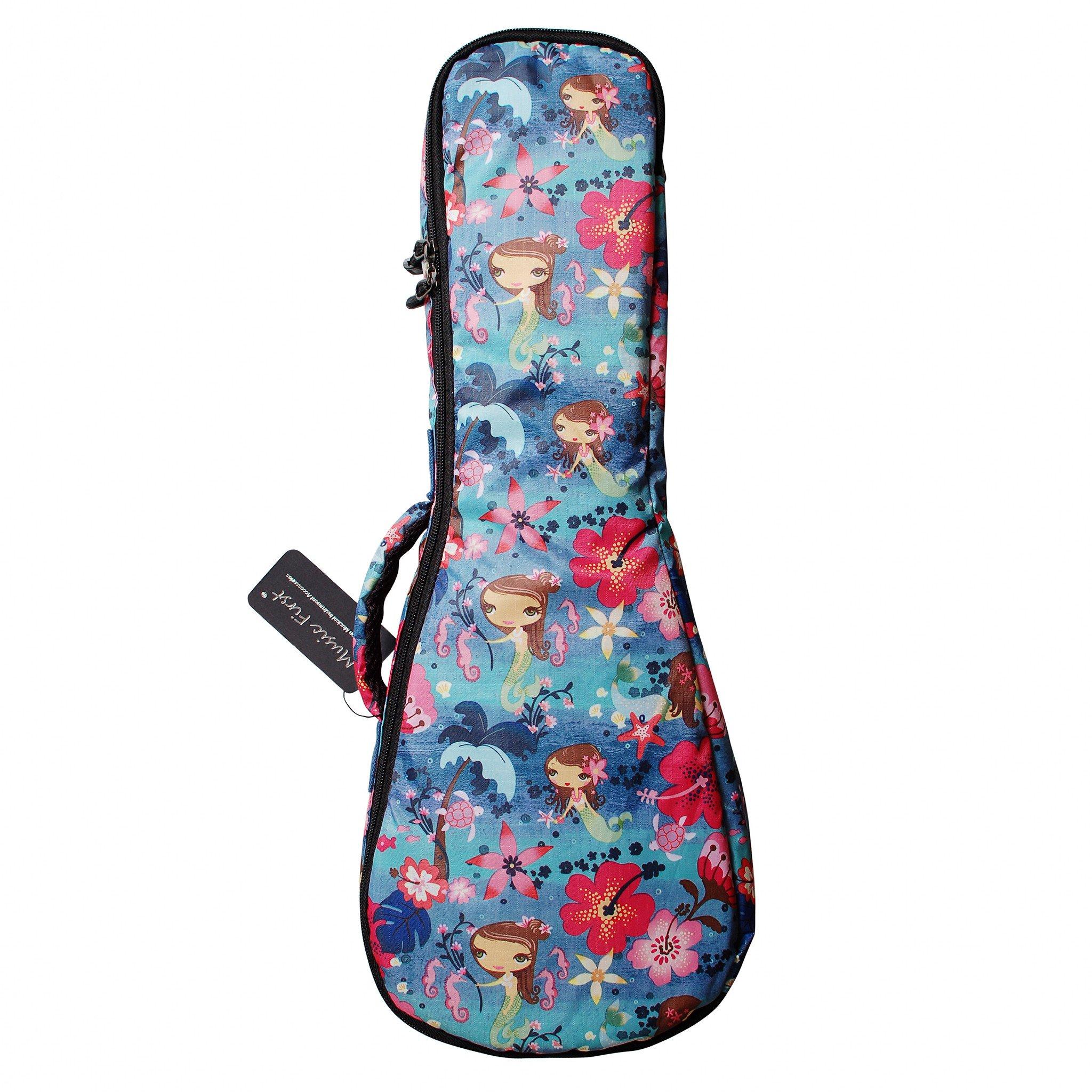 "MUSIC FIRST Ocean Blue ""Little Mermaid"", Ukulele Bag Ukulele Case Ukulele Cover, New Arrial, Original Design, Best Gift! (23/24 inch Concert, Ocean Blue) by MUSIC FIRST (Image #1)"