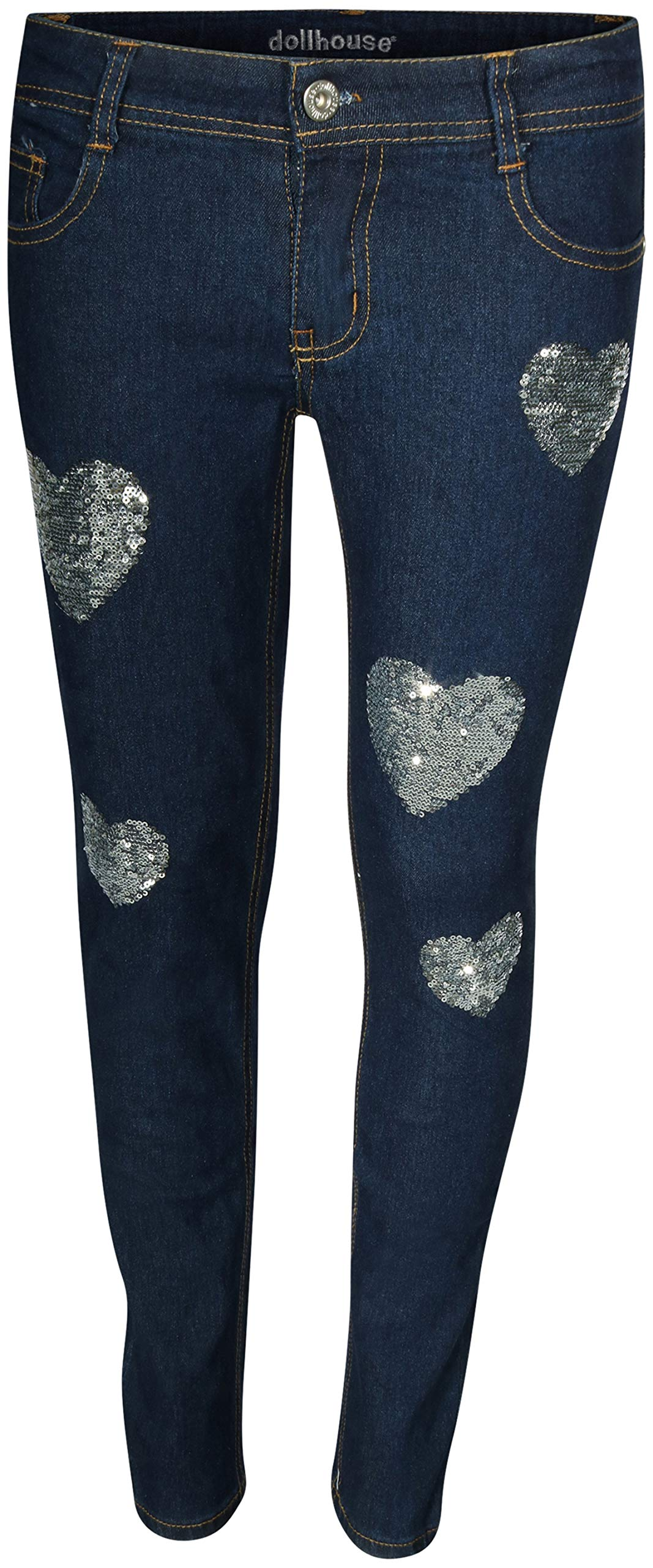dollhouse Girl's Denim Skinny Jeans with Fashion Designs (Dark Hearts, 7)' by dollhouse