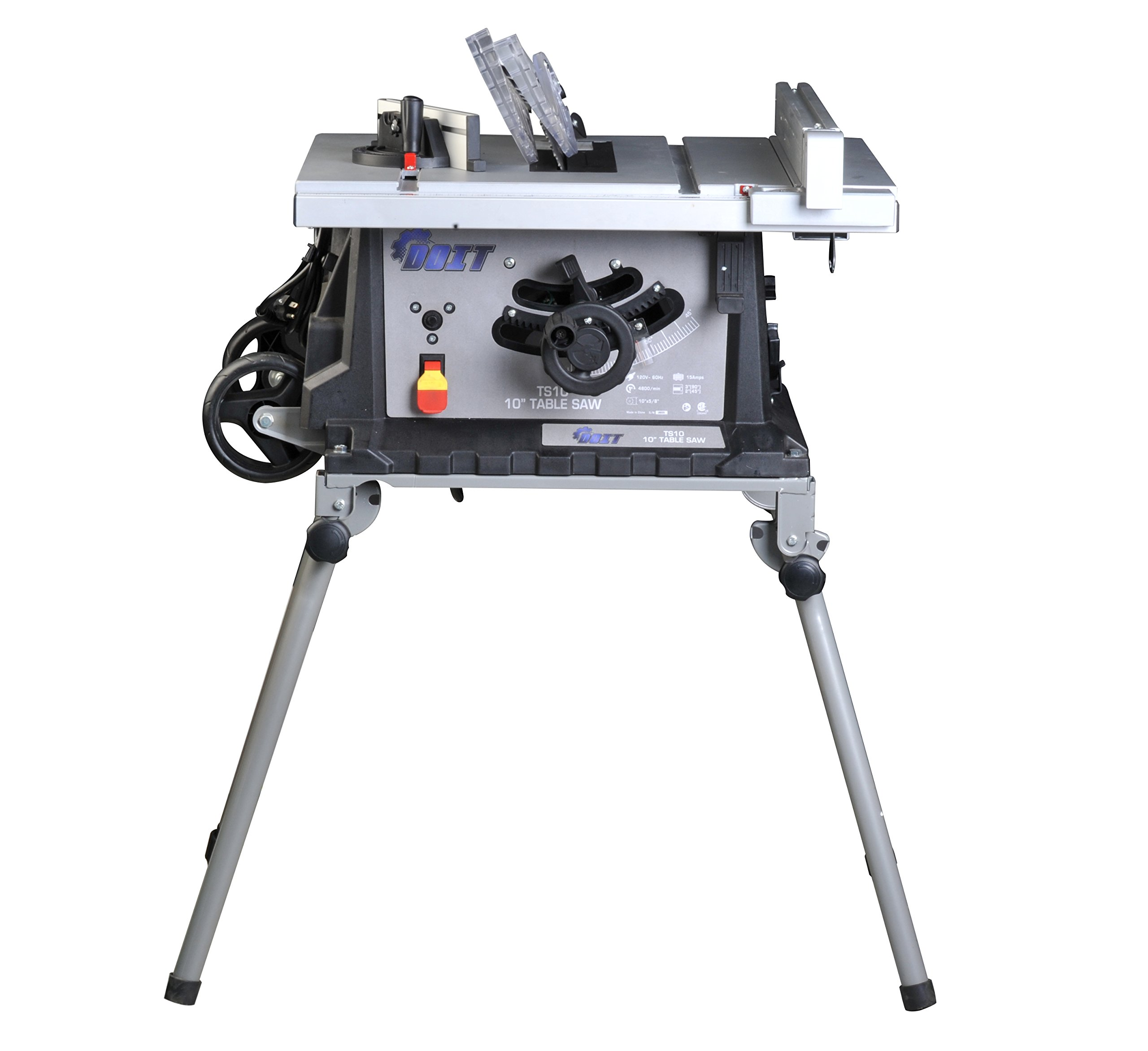 Ainfox 15Amp 10'' Table Saw, Foldable Stand Wheels Fence Movable 4800/min Speed