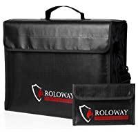 ROLOWAY Large (17 x 12 x 5.8 inches) Fireproof Bag, XL Fireproof Document Bags with Bonus Bag, Fireproof Safe and Water…