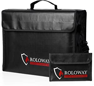 Large (17 x 12 x 5.8 inches) Fireproof Bag, Fireproof Document Bags, Fireproof Money Bag, Water Resistant Fireproof Safe Bag for Documents and Valuables Storage