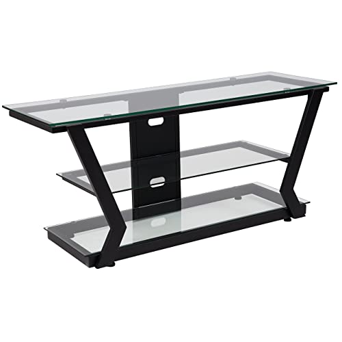 Flash Furniture Harbor Hills Glass TV Stand with Black Metal Frame –