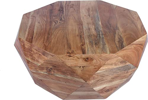The Urban Port , Natural Brown Diamond Shape Acacia Wood Coffee Table With Smooth Top, Hexagon