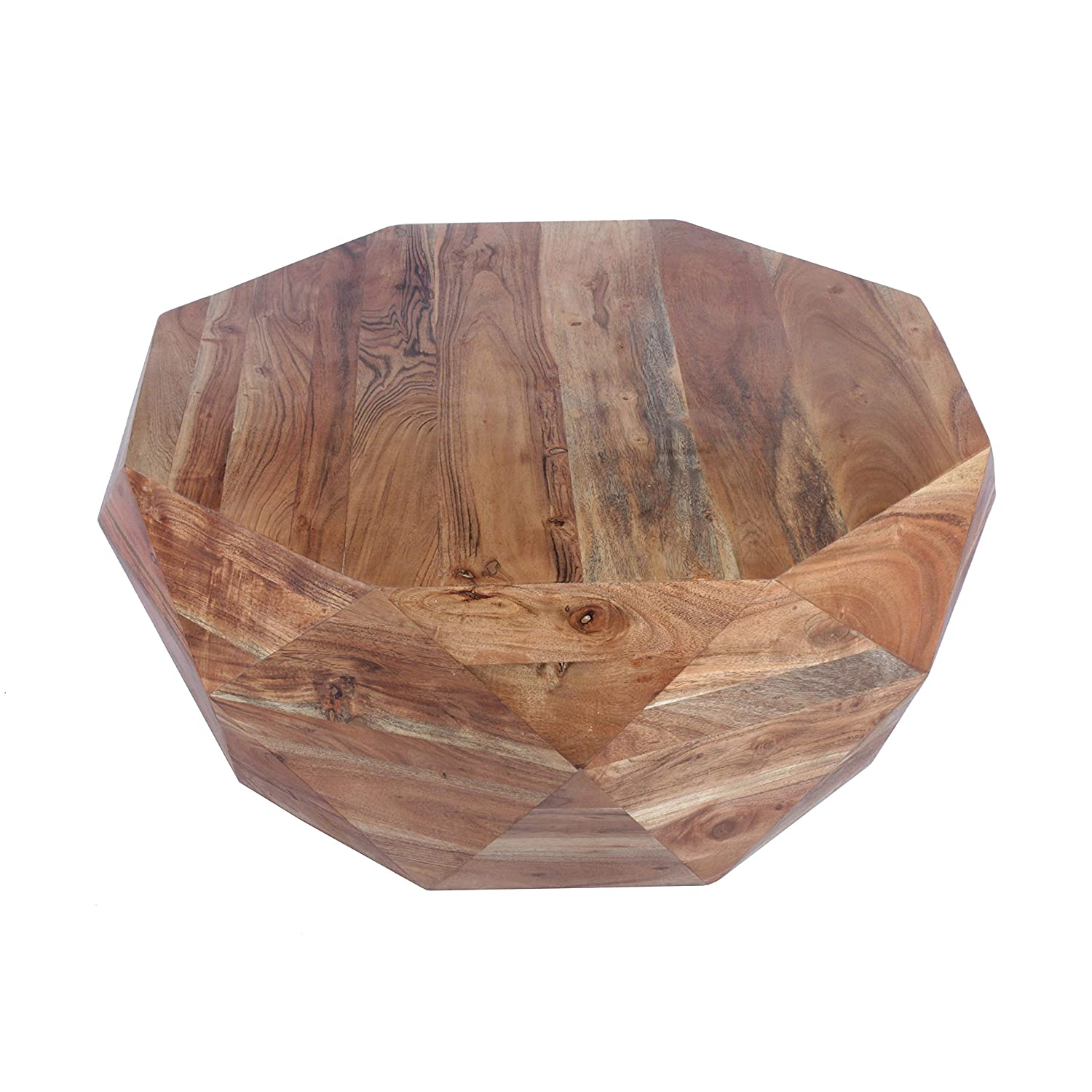 The Urban Port UPT-183796 Diamond Shape Acacia Wood Coffee Table with Smooth Top, Natural Brown, Hexagon