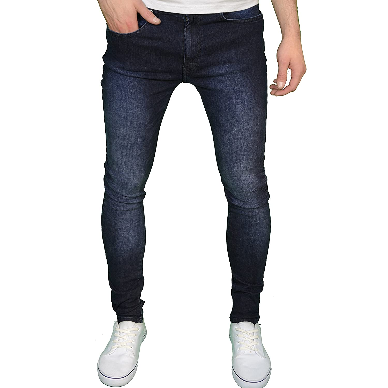 Mens Spray On Skin Tight Skinny Stretch Denim Jeans: Amazon.co.uk ...