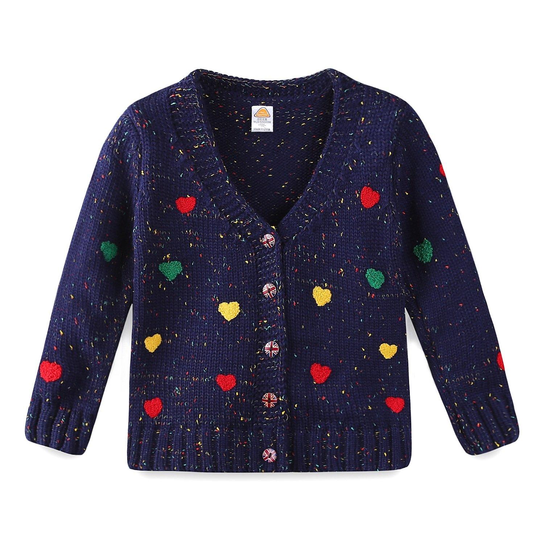 Mud Kingdom Girls Cardigan Sweaters Cute Colorful Love 3T Navy Blue