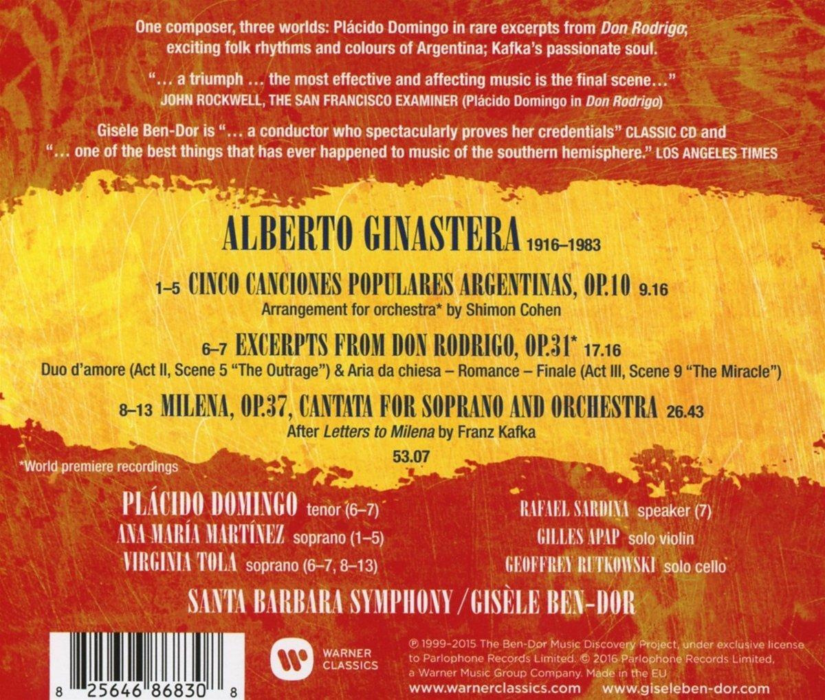 Ginastera: 5 Argentine Songs, Milena Cantata excerpts from Don Rodrigo