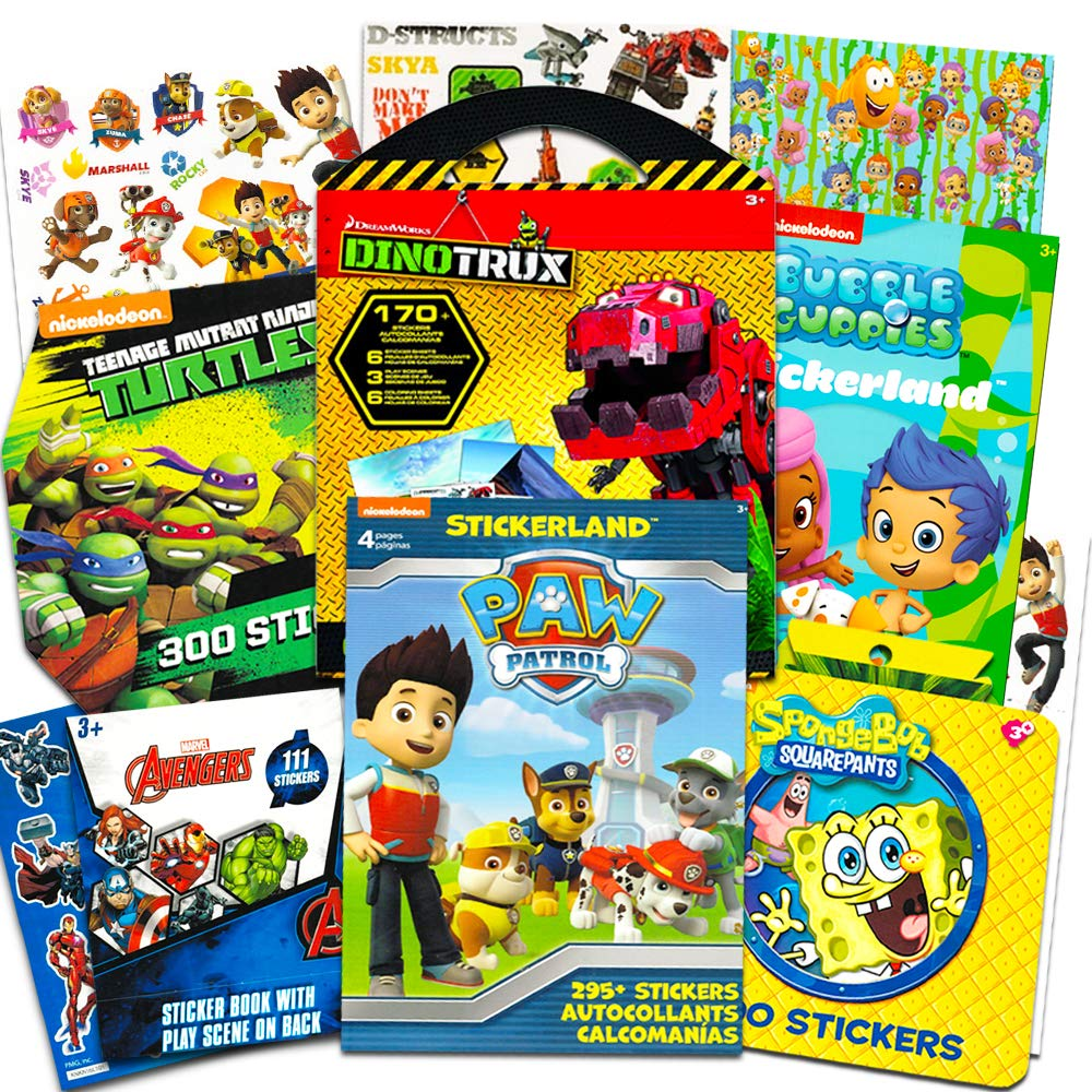 Stickers for Boys Toddlers Super Set ~ 6 Sticker Books with 1470 Licensed Stickers on 38 Sheets Featuring Paw Patrol, Bubble Guppies, DinoTrux, TMNT, SpongeBob, and Avengers (Party Favors Pack)