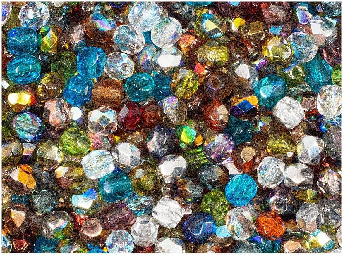 100 Piezas, 4 mm, Cuentas de Vidrio facetado Redondas checo, Fire-Polished, Transparent Mix