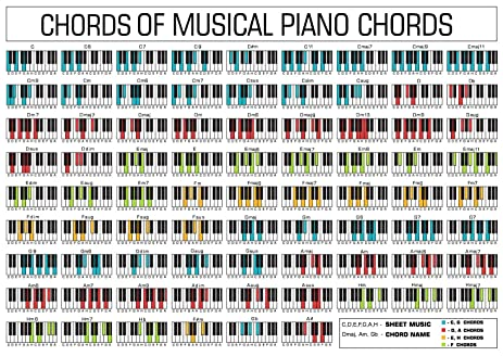 AmazonCom Piano Chord Chart Fabric Cloth Rolled Wall Poster Print