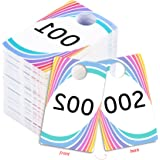 Live Sale Plastic Tags, Normal and Reverse Mirror Image Numbers, Reusable Hanger Cards, 100 Consecutive Numbers, (001-100)
