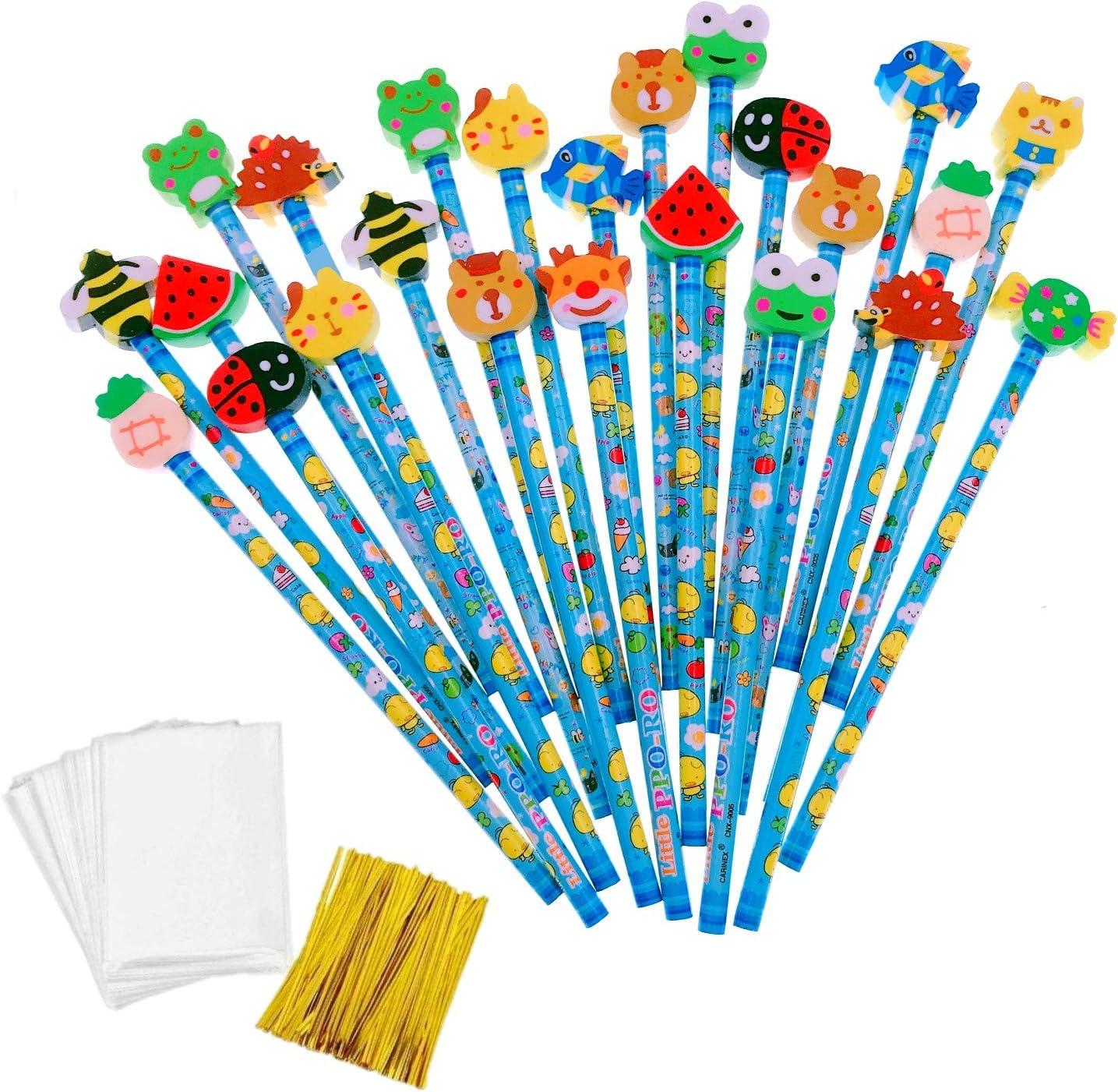 JZK 24 x Lindo Azul Grafito lápices de Madera Infantiles con Goma de borrar Animados para niños Favores Fiesta cumpleaños Navidad Regalo cumpleaños infanti